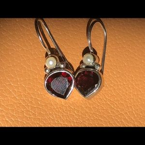 Retired Silpada Garnet Pear Silver earrings